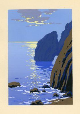 Letni pejzaż morski przedstawiający skaliste wybrzeże