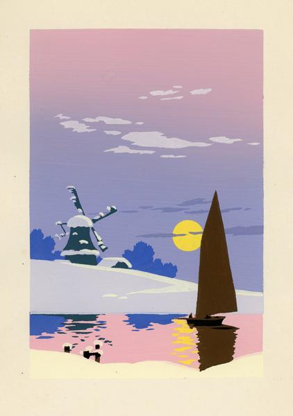 Pejzaż przedstawiający ośnieżony młyn i żaglówkę o świcie malowany gwaszem został wykonany w latach 20-tych XX wieku.
