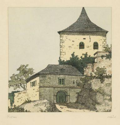 """Oryginalna barwna litografia z przełomu XIX i XX w. pt. """"Schloss Pitten"""" z serii widoków Alp austriackich. Rytował: Fritz Koziol."""