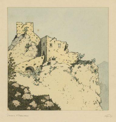 """Oryginalna barwna litografia z przełomu XIX i XX w. pt. """"Ruine Klamm"""" z serii widoków Alp austriackich. Rytował: Fritz Koziol."""