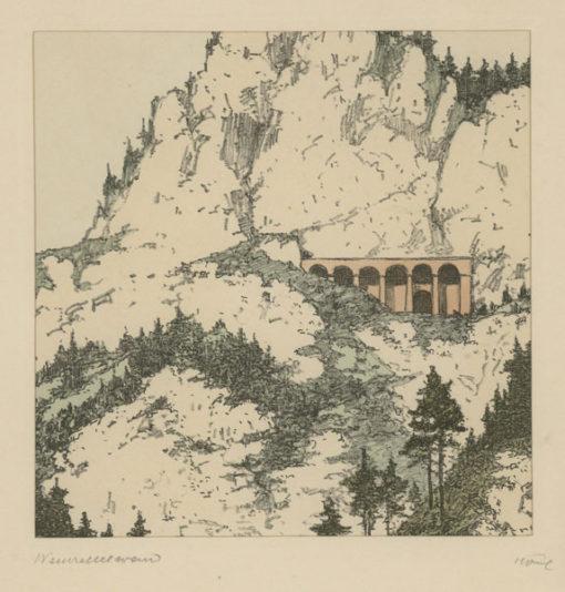 """Oryginalna barwna litografia z przełomu XIX i XX w. pt. """"Weinzettelwand"""" z serii widoków Alp austriackich. Rytował: Fritz Koziol."""