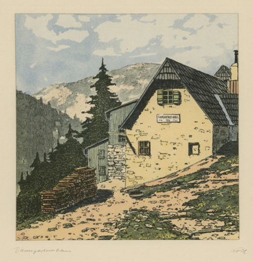 """Oryginalna barwna litografia z przełomu XIX i XX w. pt. """"Baumgarttnerhaus"""" z serii widoków Alp austriackich. Rytował: Fritz Koziol."""