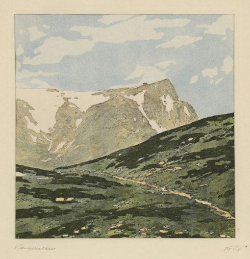 """Oryginalna barwna litografia z przełomu XIX i XX w. pt. """"Kaiserstein"""" z serii widoków Alp austriackich. Rytował: Fritz Koziol."""