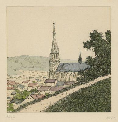 """Oryginalna barwna litografia z przełomu XIX i XX w. pt. """"Linz"""" z serii widoków Alp austriackich. Rytował: Fritz Koziol."""