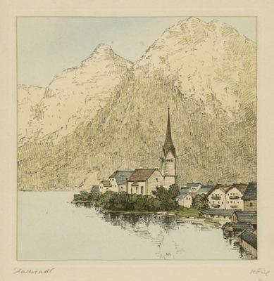 """Oryginalna barwna litografia z przełomu XIX i XX w. pt. """"Hallstadt"""" z serii widoków Alp austriackich. Rytował: Fritz Koziol."""