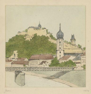 """Oryginalna barwna litografia z przełomu XIX i XX w. pt. """"Graz"""" z serii widoków Alp austriackich. Rytował: Fritz Koziol."""