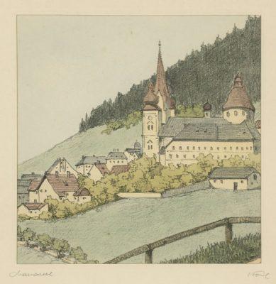 """Oryginalna barwna litografia z przełomu XIX i XX w. pt. """"Mariazell"""" z serii widoków Alp austriackich. Rytował: Fritz Koziol."""