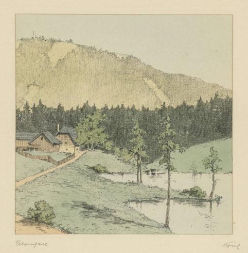 """Oryginalna barwna litografia z przełomu XIX i XX w. pt. """"Erlaufsee"""" z serii widoków Alp austriackich. Rytował: Fritz Koziol."""