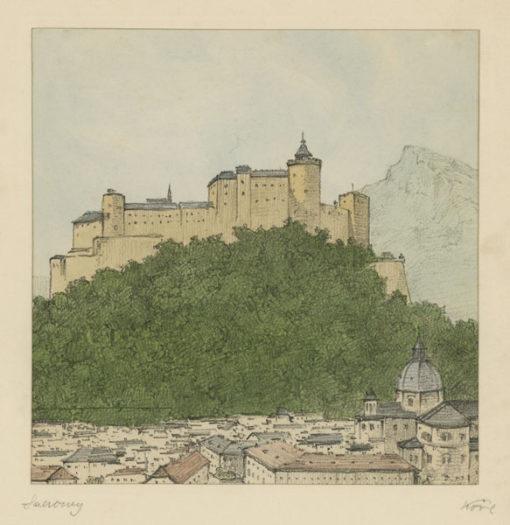 """Oryginalna barwna litografia z przełomu XIX i XX w. pt. """"Salzburg"""" z serii widoków Alp austriackich. Rytował: Fritz Koziol."""