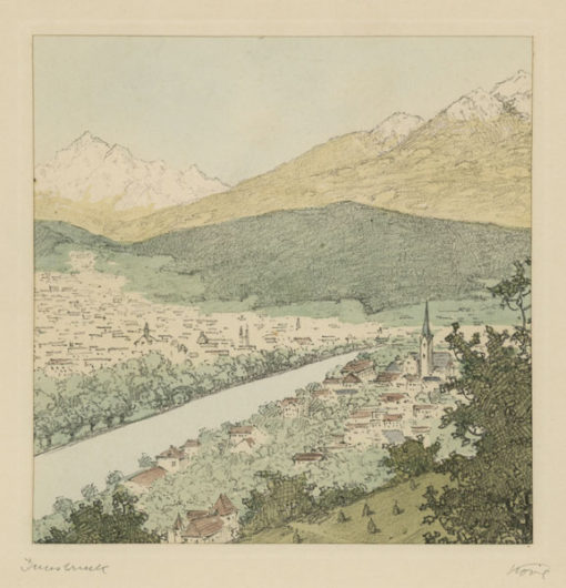 """Oryginalna barwna litografia z przełomu XIX i XX w. pt. """"Innsbruck"""" z serii widoków Alp austriackich. Rytował: Fritz Koziol."""