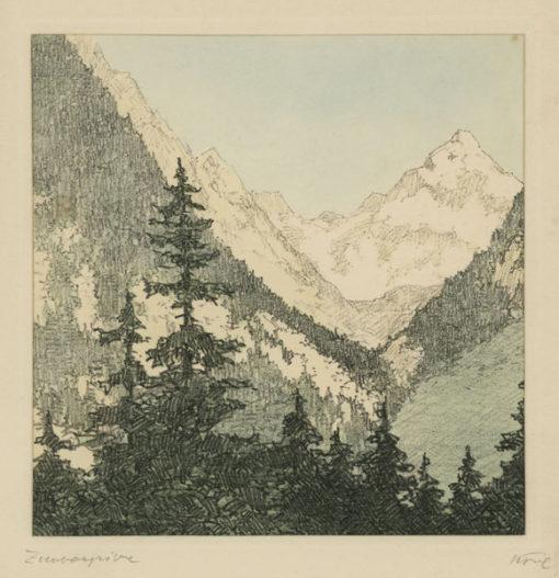"""Oryginalna barwna litografia z przełomu XIX i XX w. pt. """"Zimbaspitze"""" z serii widoków Alp austriackich. Rytował: Fritz Koziol."""
