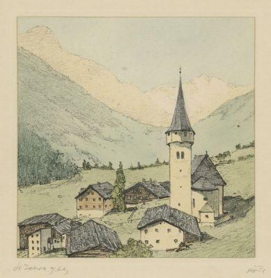 """Oryginalna barwna litografia z przełomu XIX i XX w. pt. """"St Jakob am Arlberg"""" z serii widoków Alp austriackich. Rytował: Fritz Koziol."""