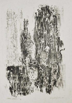 """Monotypia zatytułowana """"Preludium deszczowe I""""; odbitka 2/10. Wykonana przez Kalinę Sobieszczańską w 1966 roku. Grafika sygnowana w prawym i lewym dolnym rogu."""