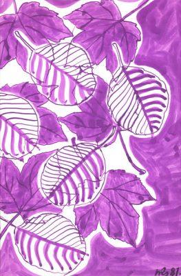 Grafika przedstawiająca kompozycje z liśćmi wykonana akwarelą w 1987r. Artystka: Wiktoria Rafa-Słowik