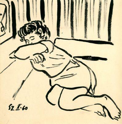 """Akwarela zatytułowana """"Odpoczywająca"""" przedstawia śpiące dziecko. Artysta: Stanisław Zawadzki"""