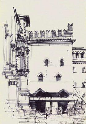 Grafika przedstawiająca Palazzo dei Notari w Bolonii wykonana w limitowanej edycji w formacie zmniejszonym w technice giclée na podstawie rysunku artysty: HENRYK DĄBROWSKI