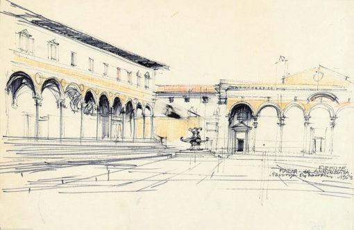 Grafika przedstawiająca Piazza SS. Annunziata we Florencji wykonana w limitowanej edycji w formacie zmniejszonym w technice giclée na podstawie rysunku artysty: HENRYK DĄBROWSKI