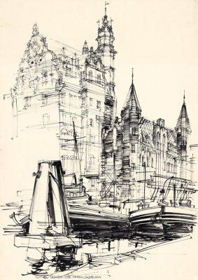 Grafika przedstawiająca  Gdańsk - Nad Motławą wykonana w limitowanej edycji w formacie oryginalnym w technice giclée na podstawie rysunku artysty: HENRYK DĄBROWSKI