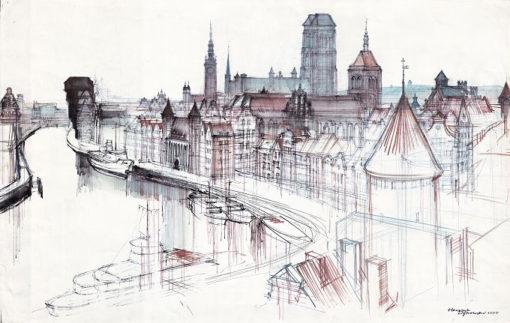 Grafika przedstawiająca panoramę Gdańska