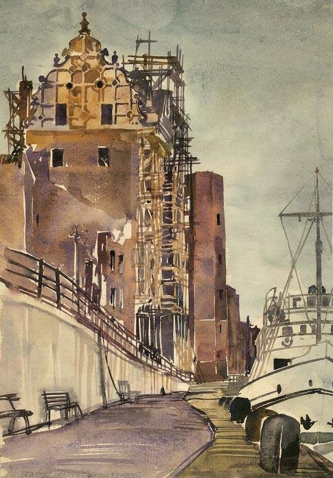 Grafika przedstawiająca bulwar i port nad Motławą w Gdańsku