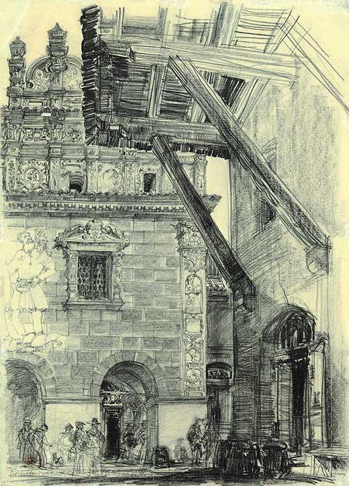Grafika przedstawiająca  Kamienicę Przybyłów w Kazimierzu Dolnym wykonana w limitowanej edycji w formacie oryginalnym w technice giclée na podstawie rysunku artysty: HENRYK DĄBROWSKI