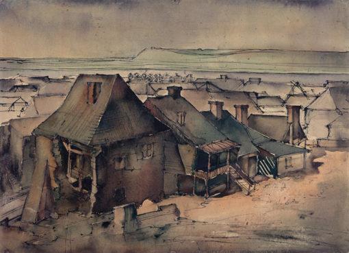 Grafika przedstawiająca ulicę Lubelską w Kazimierzu Dolnym wykonana w limitowanej edycji w formacie zmniejszonym w technice giclée na podstawie rysunku artysty: HENRYK DĄBROWSKI