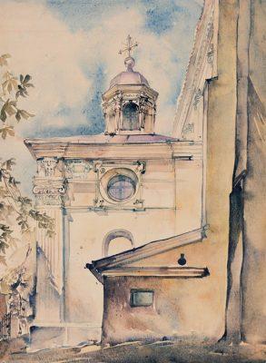 Grafika przedstawiająca  Kamienicę Przybyłów w Kazimierzu Dolnym wykonana w limitowanej edycji w formacie zmniejszonym w technice giclée na podstawie rysunku artysty: HENRYK DĄBROWSKI