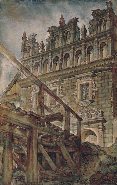 Grafika przedstawiająca Kazimierz Dolny - kamienicę Celejowską