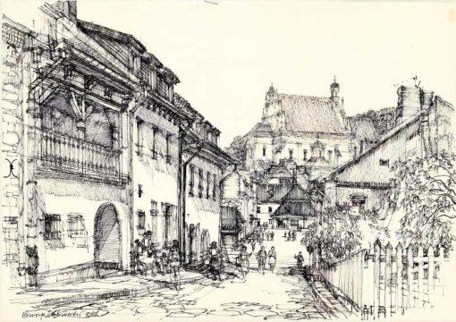 Grafika przedstawiająca Kazimierz Dolny - widok na rynek i farę