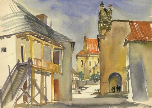 Grafika przedstawiająca widok na podcienia w rynku i farę w Kazimierzu Dolnym
