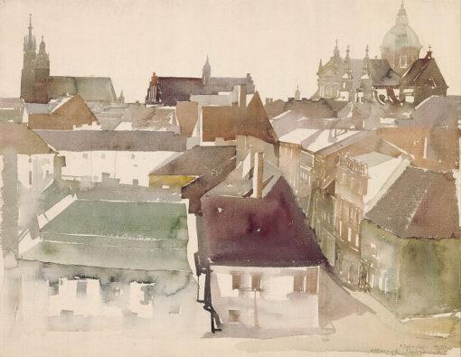 Grafika przedstawiająca widok na ulicę Kanoniczą w Krakowie