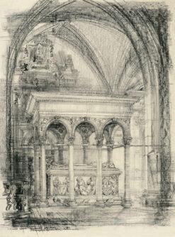 grafika: Kraków, Wawel, sarkofag Jagiełły, proj. Henryk Dąbrowski