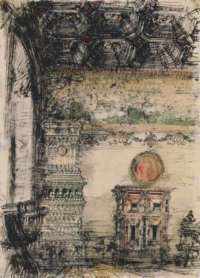 Grafika przedstawiająca Kraków - Wawel