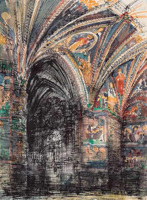Grafika przedstawiająca wnętrze katedry na Wawelu w Krakowie