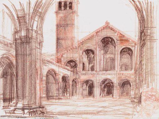 Grafika przedstawiająca Basilica di San Ambrogio w Mediolanie wykonana w limitowanej edycji w formacie zmniejszonym w technice giclée na podstawie rysunku artysty: HENRYK DĄBROWSKI
