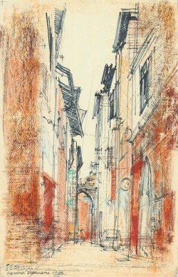 Grafika przedstawiająca włoskie miasto Perugia