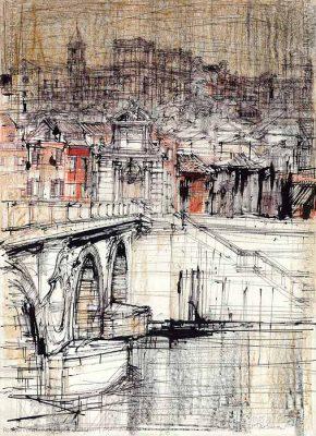 Grafika przedstawiająca Ponte Sisto Rzymie
