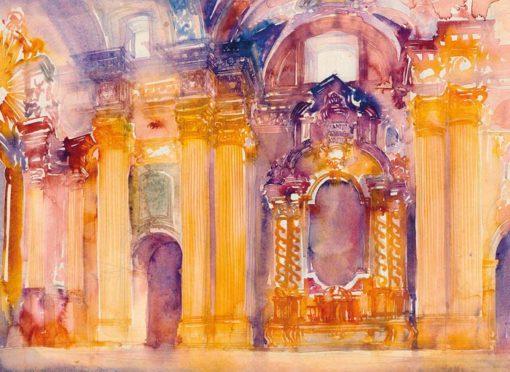 Grafika przedstawiająca wnętrze fary w Poznaniu wykonana w limitowanej edycji w formacie zmniejszonym w technice giclée na podstawie rysunku artysty: HENRYK DĄBROWSKI