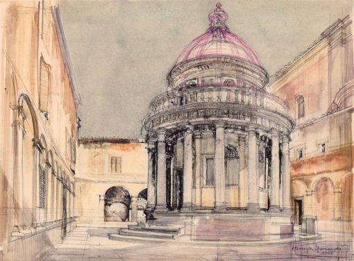 Grafika przedstawiająca Tempietto w kościele San Pietro in Montorio w Rzymie wykonana w limitowanej edycji w formacie zmniejszonym w technice giclée na podstawie rysunku artysty: HENRYK DĄBROWSKI