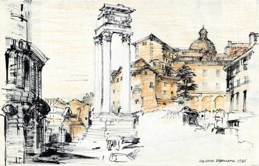 Grafika przedstawiająca starożytne ruiny w Rzymie