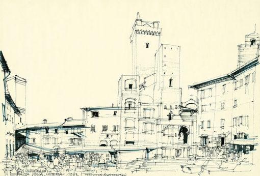 Grafika przedstawiająca San Gimignano - Piazza della Cisterna