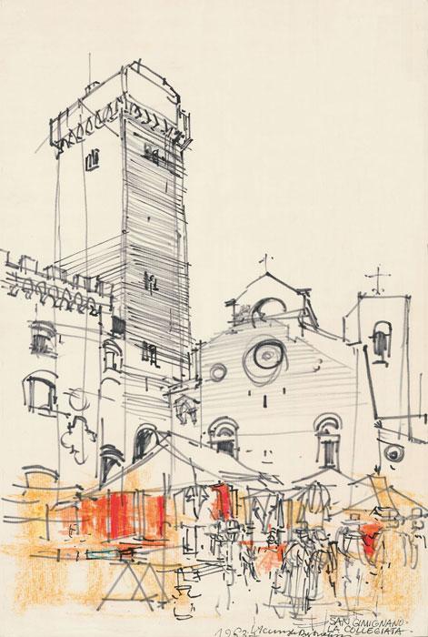 Grafika przedstawiająca San Gimignano - La Collegiata