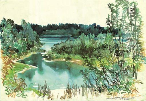 Grafika przedstawiająca Warszawę - Saską Kępę