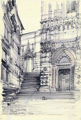 Grafika przedstawiająca baptysterium św. Jana w Sienie wykonana w limitowanej edycji w formacie zmniejszonym w technice giclée na podstawie rysunku artysty: HENRYK DĄBROWSKI