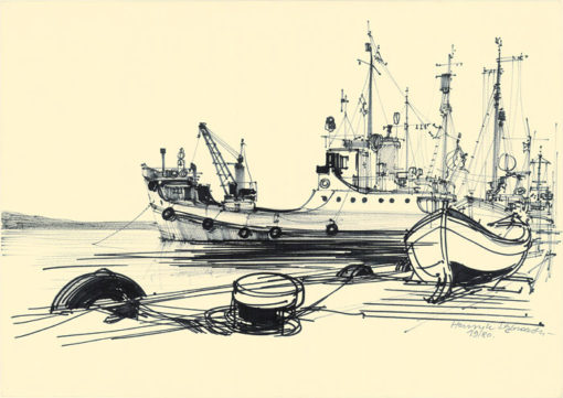 Grafika przedstawiająca port w Sozopolu wykonana w limitowanej edycji w formacie oryginalnym w technice giclée na podstawie rysunku artysty: HENRYK DĄBROWSKI