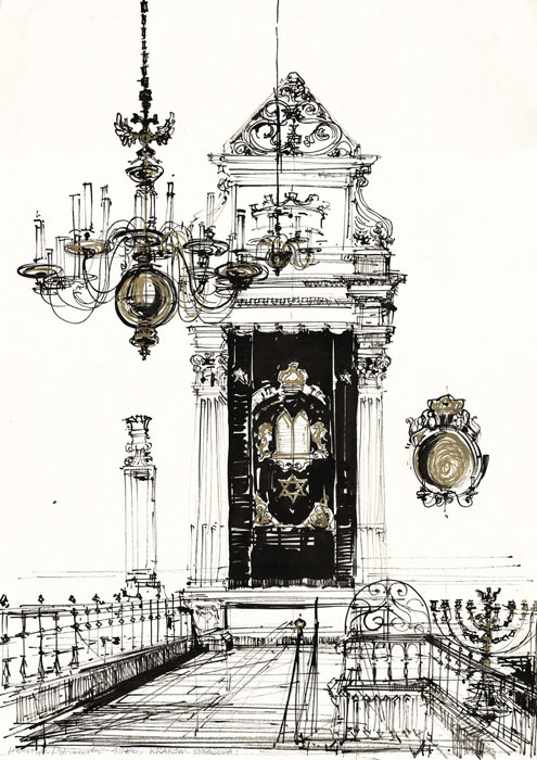 Grafika przedstawiająca wnętrze synagogi w Krakowie