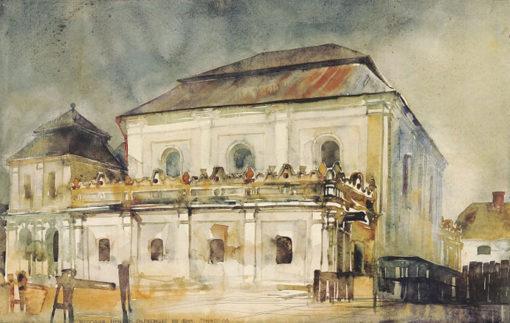 Grafika przedstawiająca synagogę we Włodawie