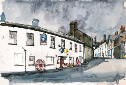 Grafika przedstawiająca uliczkę miejska w Szkocji wykonana w limitowanej edycji w formacie zmniejszonym w technice giclée na podstawie rysunku artysty: HENRYK DĄBROWSKI