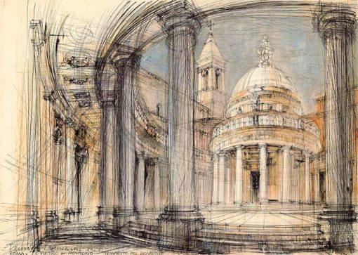 Grafika przedstawiająca Tempietto Donato Bramantego w kościele San Pietro in Montorio w Rzymie