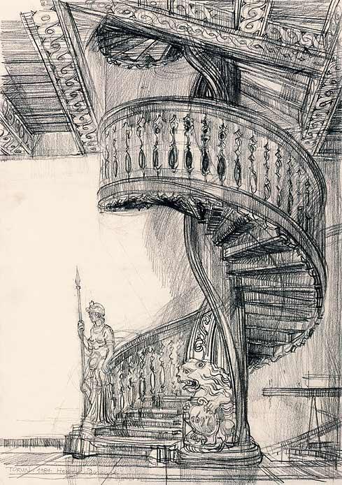 Grafika przedstawiająca  kręcone schody w kamienicy pod Gwiazdą w Toruniu wykonana w limitowanej edycji w formacie zmniejszonym w technice giclée na podstawie rysunku artysty: HENRYK DĄBROWSKI